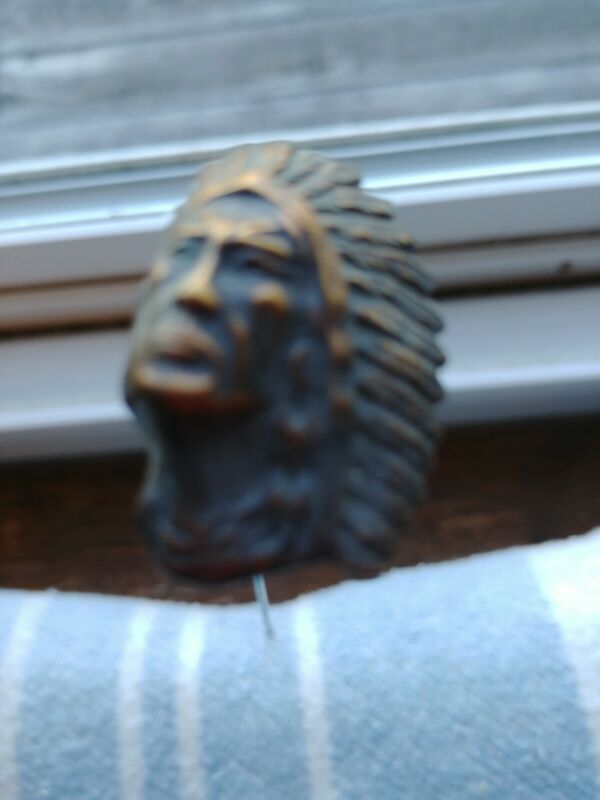 "Antique Vintage  BRASS Indian Chief Hatpin, 9"" tall, pin-1-1/2"", #2281"