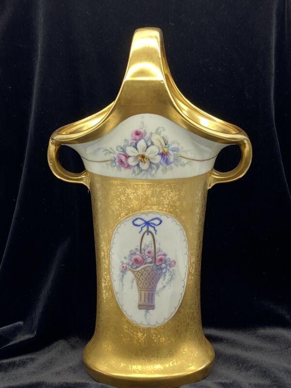 "Pickard Double Handle Vase / Basket Flowers Hand Painted 12"""