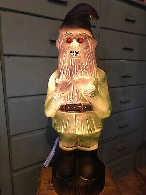 Spooky scary Zombie Gnome Red Eyes Lighted Great Night Light Blow (Zombie Gnome)