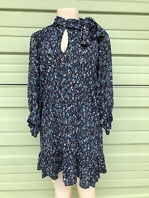 NWOT ZARA MULTICOLOURED FLORAL PRINT MINI DRESS 3/4 Sleeves XS  0097/222 #1890A