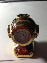 Bulova ANTIQUE DIVERS HELMET Miniature-Mini Collectible Clock #B0589 NEW IN BOX
