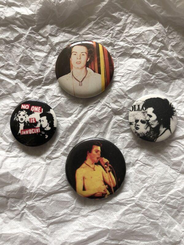 VTG 70s 80s Punk Sid Vicious Sex Pistols Button Pins