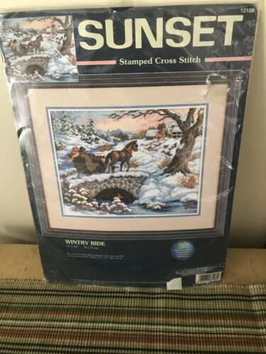 Wintry Ride Sleigh Horse Stamped Cross Stitch Kit 13108 Suns