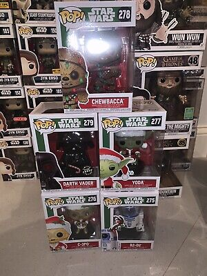 Funko Pop! Star Wars Holiday Christmas Lot: Yoda, Chewbacca, Vader, C-3PO, R2-D2