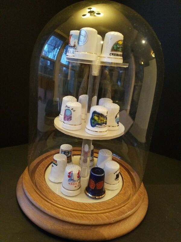 Thimble Display Case With 18 Thimbles,  Thimbles are souvenirs, wood base, glass