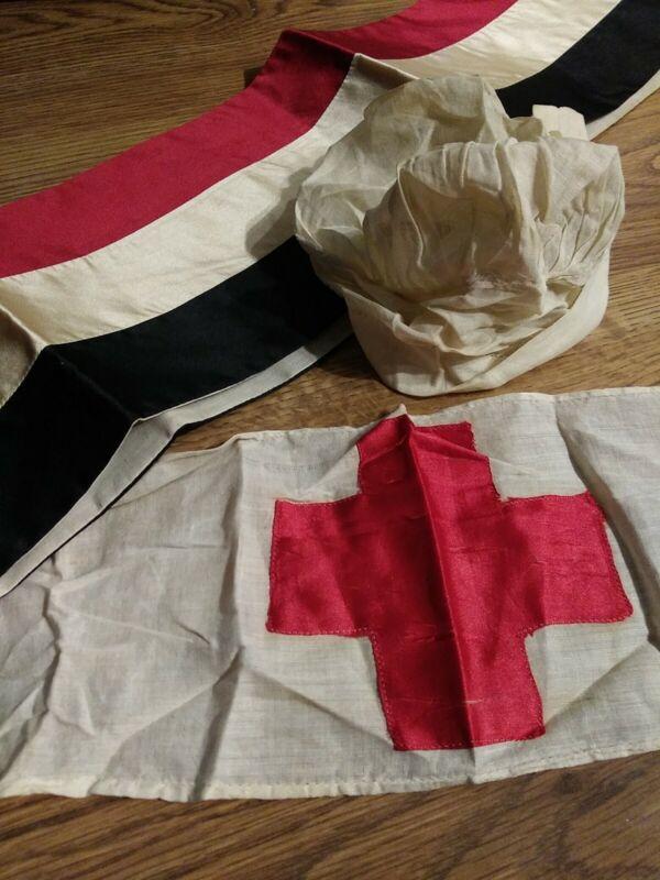 Red Cross Vintage Nurse Arm Patch, Bonnet and Sash