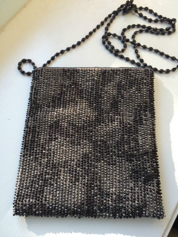 Moyna Black and Pewter/Silver Beaded Cross Body Evening Bag