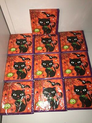 Halloween Party Supplies Kitty Cat Halloween Napkins Large Lot of 10](Kitty Cat Party Supplies)