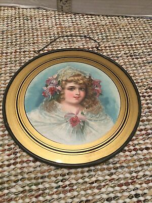 ANTIQUE VICTORIAN FLUE COVER CHROMOS LITHOGRAPH GIRL PINK Orchid FLOWERS WHITE
