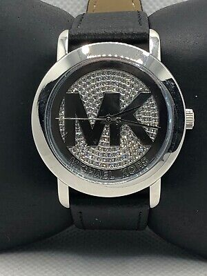 Michael Kors MK3375 Women's Black Leather Analog Dial Quartz Wrist Watch KS351