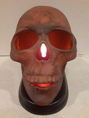 SKULL LIGHT FOR HALLOWEEN RAKU FRESH OUT OF KILN ONE OF KIND BRAND NEW