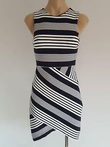 Size 8 Forever New stretch fitted white and dark navy stripe dress