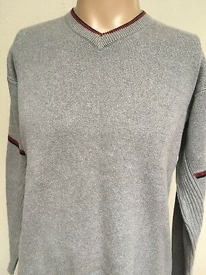 VTG 90s ~ INDIAN MOTORCYCLE V-NECK SWEATER ~ Heather Gray/Stripe Detail ~ L/XL