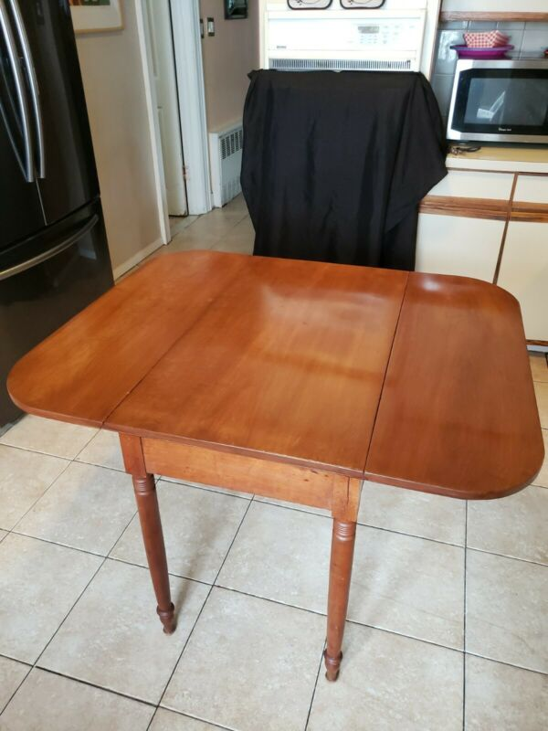Antique Walnut Drop Leaf Table With Draw