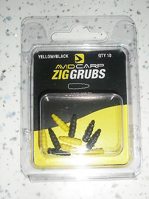 Avid Zig Grubs Schwarz Gelb 10pk Karpfenangeln