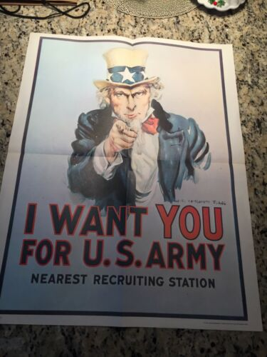 vtg. 1975 I want you for U.S. Army poster 1970