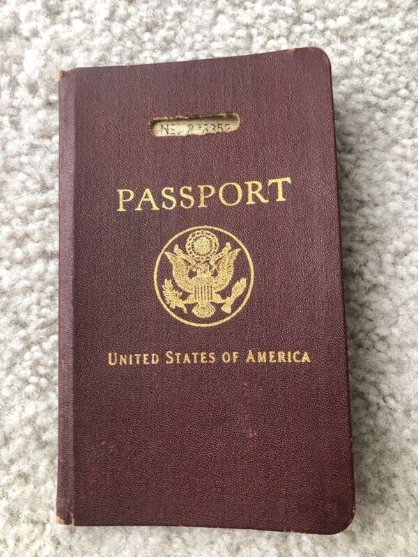 vintage us passport 1930 visas germany, UK, France, travel book
