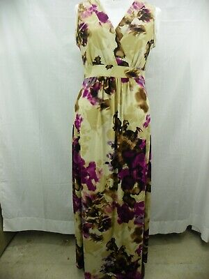 SUSAN LAWRENCE XS Floral Print Poly Blend Sleeveless Maxi Sundress Dress EUC