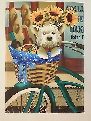 - White West Highland Terrier, Westie on Bicycle with Wine & Bread HOUSE flag