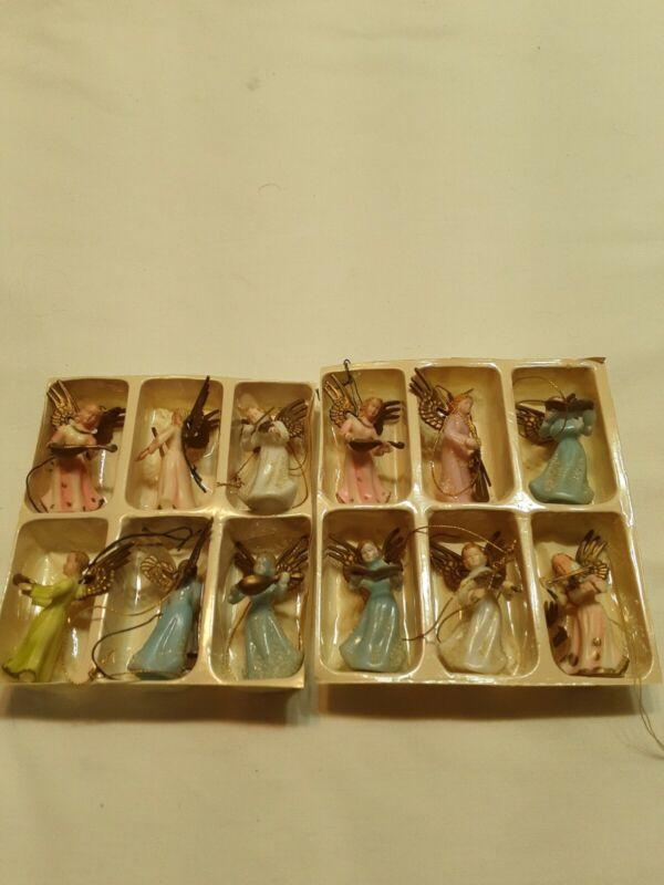 Vintage Angel Musician Ornaments made in Hong Kong.