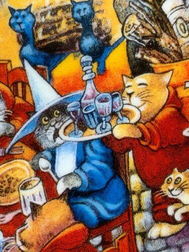 """Cat Art Plate """"Food Fight"""" Bill Bell 24k Gold Trim 8"""" Franklin Mint"""