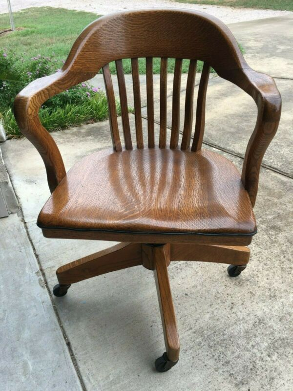 Antique Solid Quatersawn Oak Wood Swivel Office Chair Vintage