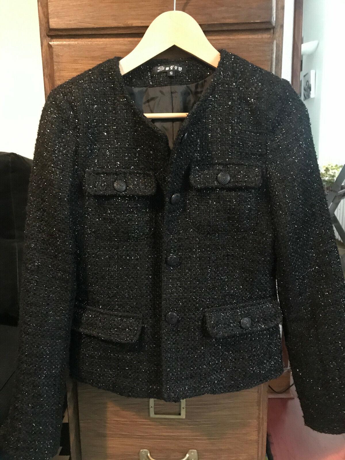 Veste en tweed noire taille s