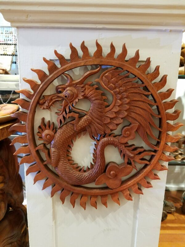 Dragon Wood Carving Panel Bali Power Auspicious Strength Wisdom Honor Protection