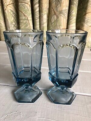 2 Iced Tea Fostoria VIRGINIA Light Blue Set Vintage Goblet Glass 6-7/8