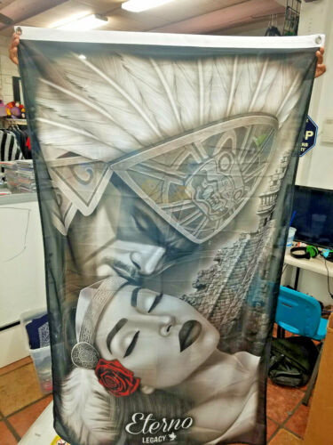 ETERNO AZTEC MEXICA CHICANO CULTURA 3FT X 5 FT BANNER LOS ANGELES LOWRIDER RARE