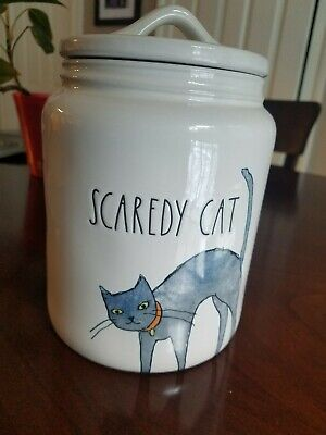 Rae Dunn Scaredy Cat Halloween Large Canister Jar 2019 Collection BRAND NEW!