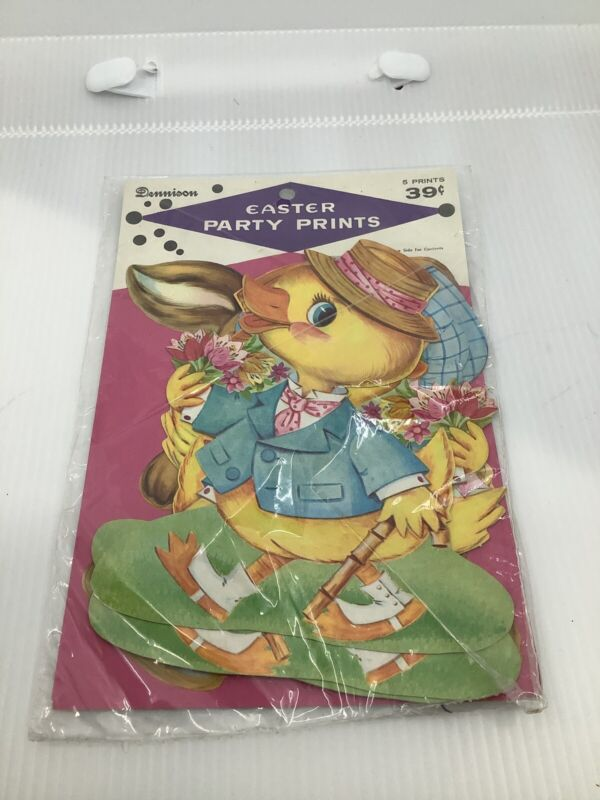 Vintage Dennison Easter Party Prints-Diecuts, Cut outs-OSS-Lot of 5