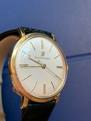 Girard Perrgaux Men's Wrist Watch Solid 18k Gold 1960's Vintage
