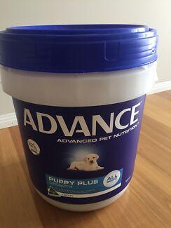 Advance Puppy Plus Growth 12kg tub over half full