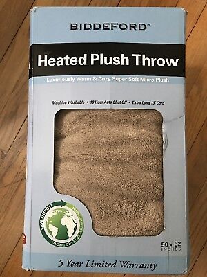 "Biddeford Micro Plush Heated Electric Throw Blanket 50 X 62"" NIB"