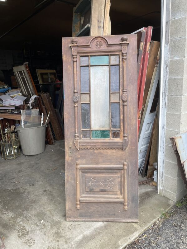 Bova 51 Antique Stained Glass Eastlake Style Door 31.75 X 79.75