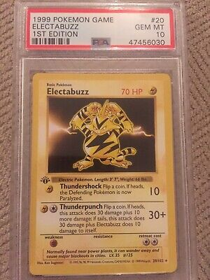 1999 Pokemon 1st Edition Base Electabuzz 20/102 PSA 10 Gem Mint