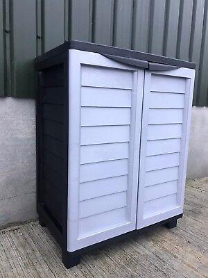 Starplast Cabinet Outdoor Garden Storage With Shelves New Colour Black & Grey