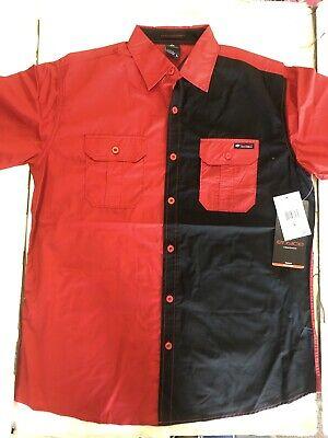 NWT Men's ENYCE a Sean Combs co. Short Sleeve Black/Red Woven Button down shirt -