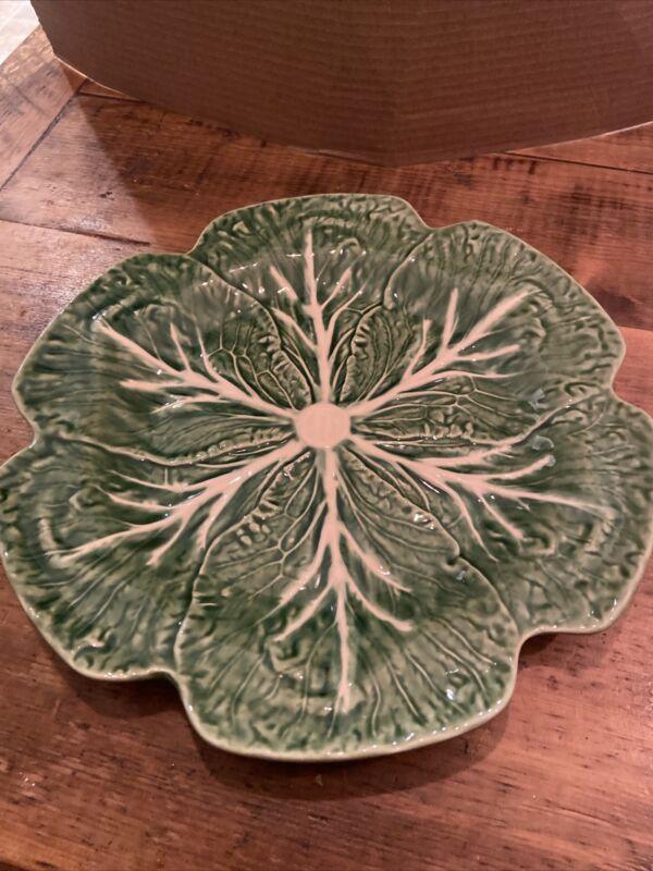 "Bordallo Pinheiro Green Cabbage Leaf Charger Chop Plate 12"" Majolica"