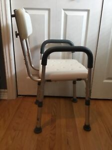 Shower/Bath Chair with Back and Removable Padded Arms