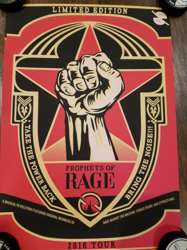 Prophets Of Rage Concert Tour Shepard Fairey 2016 Limited Edition Screen Print