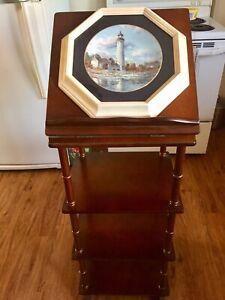 Antique Wood Floor Standing Plate Display Shelf