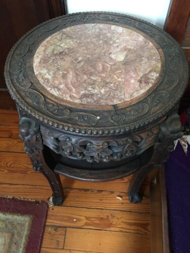 Vintage Carved Round Chinese 1890-1910 Wood and Marble Table
