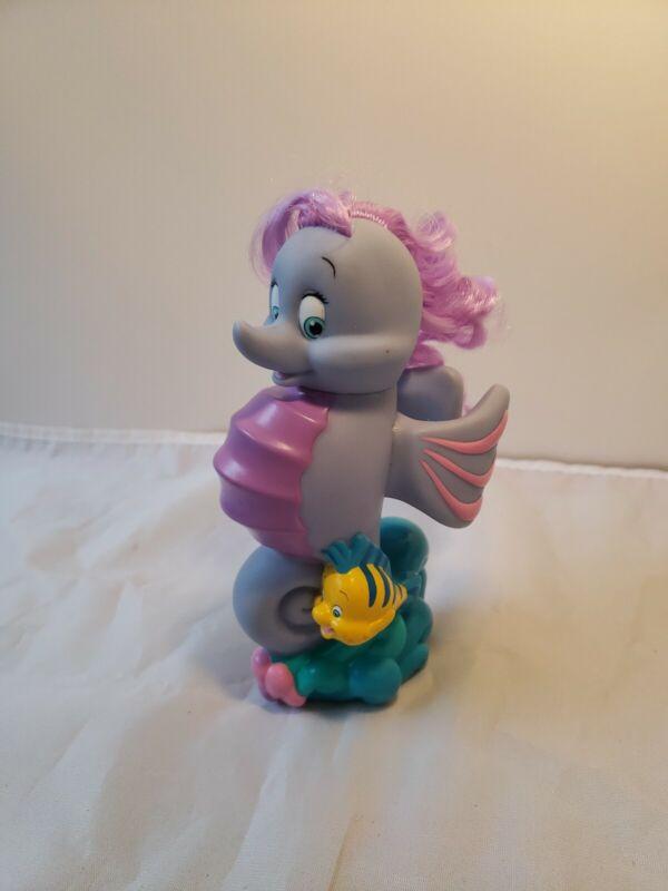 "The Little Mermaid Stormy Seahorse & Flounder PVC Figure 2002 Mattel Disney 6"" H"