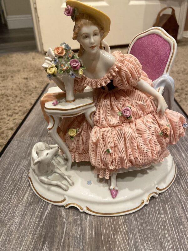 Antique Dresden lace Porcelain Figurine