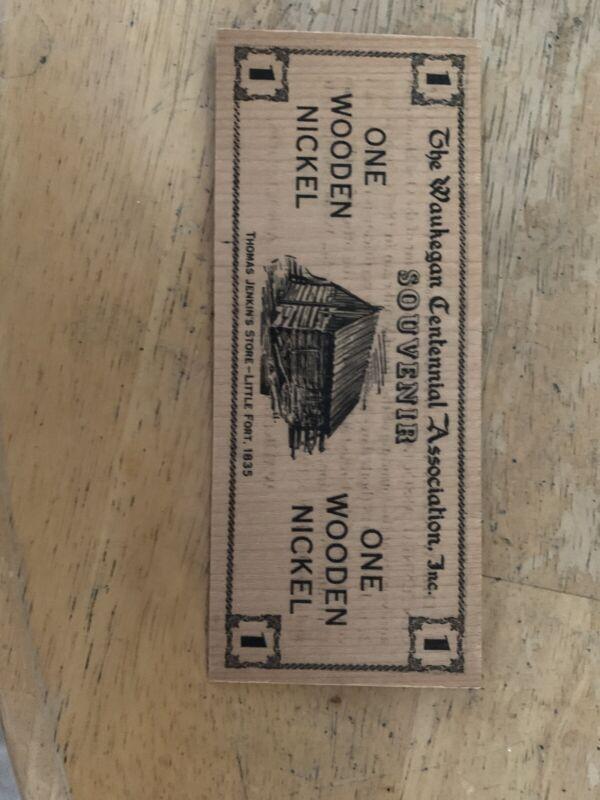 The Waukegan Centennial Asscciation Souvenir Wooden Nickel 1835 - 1935