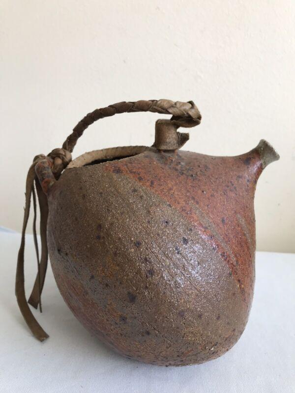 Unique Studio Pottery Ceramic Pitcher With Genuine Leather Handle