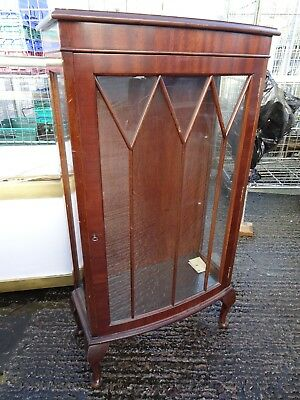 Vintage Bow Front Glazed Display Cabinet with Key