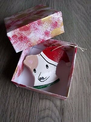 Jonny Snow The Dog Santa Hat Ornament With Hand-Painted Gift Box